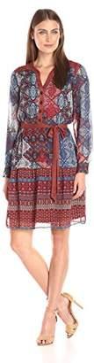 Robbie Bee Women's One-Piece Suede Trim Chiffon Printed Shirt Dress