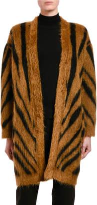 Max Mara Carlo Tiger-Striped Fuzzy Cardigan