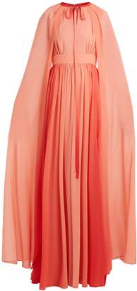 Elie Saab Cape-sleeve georgette gown