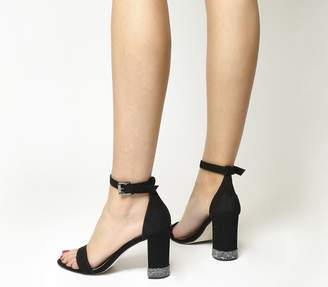 Office Nina Block Heel Sandals Black Nubuck With Gunmetal Gem Trim