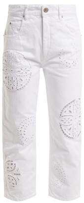 Isabel Marant Ronny Broderie Anglaise Cropped Jeans - Womens - White