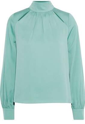 Milly Simona Tie-Back Cutout Stretch-Silk Blouse