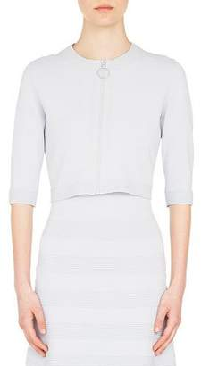 Akris Punto Elbow-Sleeve Round-Neck Zip-Front Bolero Cardigan