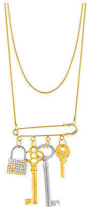 Steve Madden Women Lock and Keys Safety Pin Chain Necklace