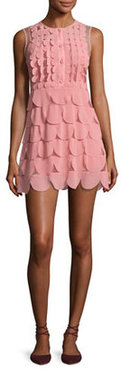 RED Valentino Sleeveless Scalloped Georgette Minidress, Pink $895 thestylecure.com