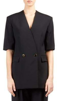 Stella McCartney Wool Double-Breasted Short-Sleeve Blazer