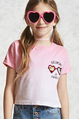 Forever 21 Girls Ombre Graphic Tee (Kids)