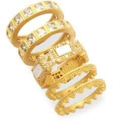 Freida Rothman Set Of Five Crowned Stacking Rings