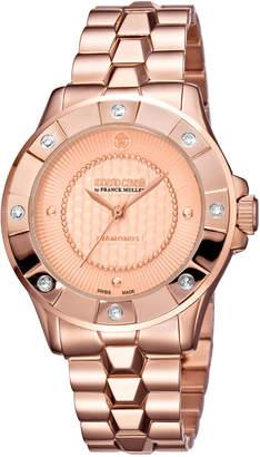 Roberto Cavalli By Franck Muller 36mm Rose Golden Diamond Bezel Watch