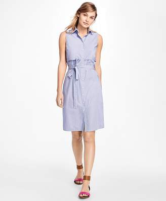 Sleeveless Stripe Cotton Dobby Shirtdress $78 thestylecure.com
