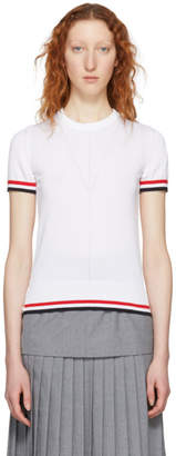 Thom Browne White Short Sleeve Tipping Stripe Sweater