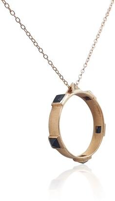 Eliza J Bautista Onyx Rock Chic Necklace In 18K Rose Gold Vermeil