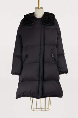 Fur-lined long puffer jacket