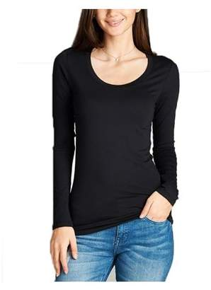 Glass House Apparel Women's Scoop Round Neck Long Sleeve Cotton T-Shirt Soft Stretchy Tee Slim Fit Top (Medium, Black)