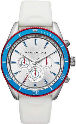 Armani Exchange Men Chronograph Enzo White Silicone Strap Watch 46mm