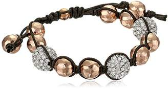 Tai Rose Gold Hammered Ball with Pave Swarovski Crystals Bracelet