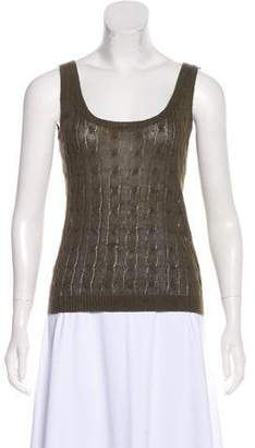 Ralph Lauren Black Label Sleeveless Cable Knit Top