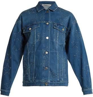 Stella McCartney Oversized star-embroidered denim jacket