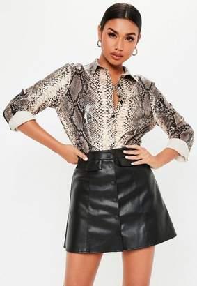 Missguided Black Matte Faux Leather Popper Pocket Skirt