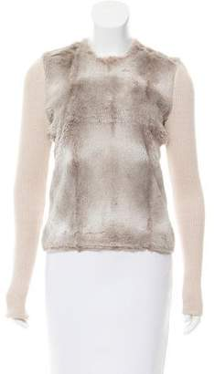 L'Agence Fur-Accented Crew Neck Sweater