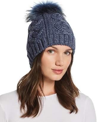 Echo Fur Pom-Pom Cable-Knit Beanie - 100% Exclusive