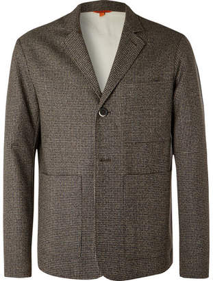Brown Unstructured Puppytooth Wool Suit Jacket