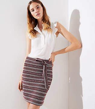 LOFT Petite Striped Tweed Tie Waist Skirt