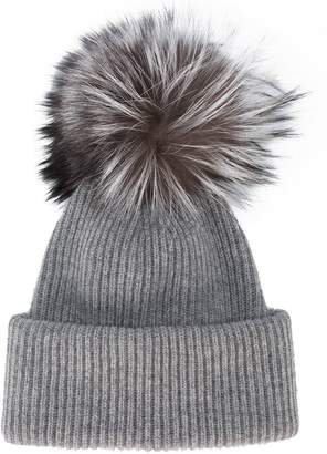 Inverni Grey Ribbed Cashmere Hat With Fur Pom Pom
