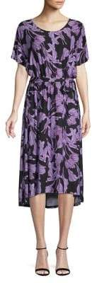 Joan Vass Printed High-Low Midi Dress