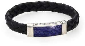 John Hardy Classic Chain Silver Station Sterling Silver & Leather Bracelet