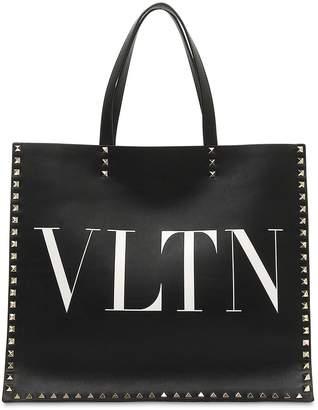 Valentino Vltn Leather Tote