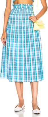 Nicholas Smocked Skirt in Turquoise Multi | FWRD