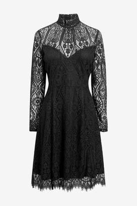 Next Womens Black Lace Shift Dress - Black