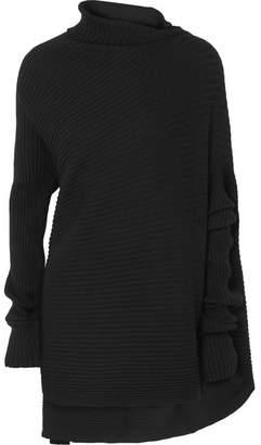 Marques Almeida Marques' Almeida - Asymmetric Ribbed Merino Wool Sweater - Black