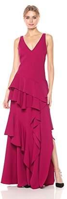 Halston Women's Sleeveless Wide V Neck Flounce Detail Gown, wild berry 4