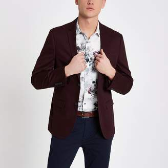 River Island Mens Dark Red skinny fit cotton blazer