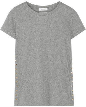 Valentino The Rockstud Embellished Cotton-jersey T-shirt - Gray