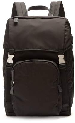 Prada Front Pocket Nylon Backpack - Mens - Black