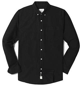 Chain Stitch Men's Long Sleeve Cotton Oxford Button-Down Collar Casual Shirt