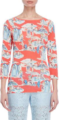 Blugirl Beach Print Quarter Sleeve Top