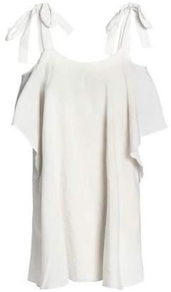 Halston Cold-Shoulder Draped Gauze Mini Dress