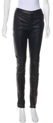 Gucci Leather Mid-Rise Skinny Pants Black Leather Mid-Rise Skinny Pants