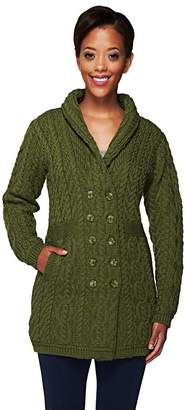 Aran Craft Merino Wool Double Breasted Sweater Coat