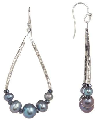 Chan Luu Bead & Simulated Pearl Teardrop Hoop Earrings