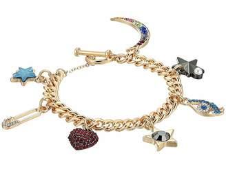 Steve Madden Rolo Casted Heart Eye Moon Charm Bracelet