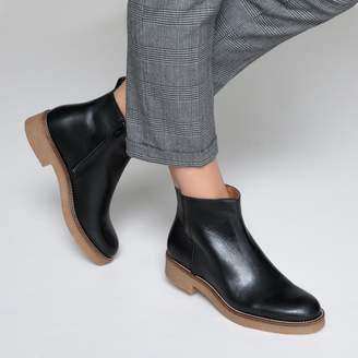 La Redoute Collections Leather Ankle Boots with Crêpe Sole