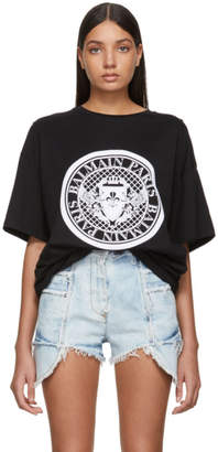 Balmain Black Flocked Medallion T-Shirt
