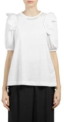 Simone Rocha Beaded Puff-Sleeve Top