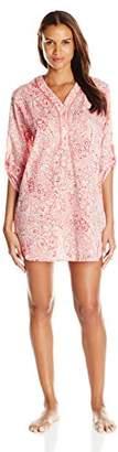 Karen Neuburger Women's 3/4 Sleeve Henley Beach Coverup Pajama Pj