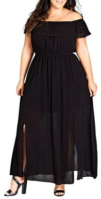 City Chic Off the Shoulder Maxi Dress